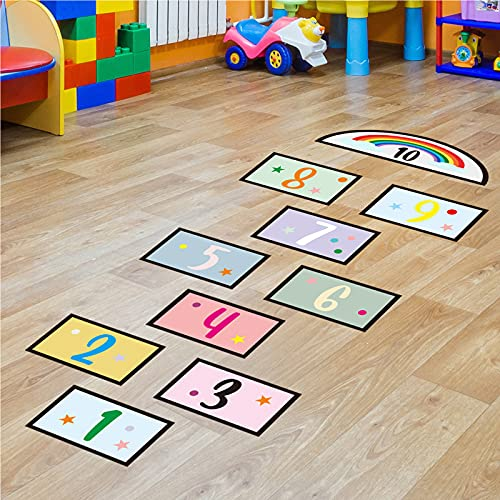 10 Number Lattice Floor Sticker Wall Decals, Colorful Rianbow Puzzle Hopscotch Game Wall Stickers, Removable DIY Art Ground Corridor Wallpaper Décor for Kids Bedroom, Nursery, Classroom