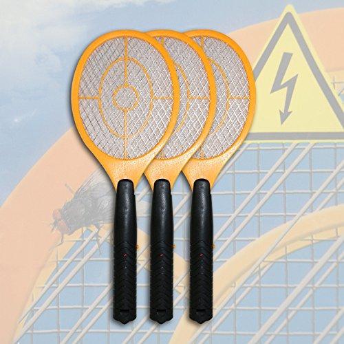 Di-Nesh 3 x Elektrisch Gelb Fliegenklatsche Insektenvernichter Fliegenschläger top