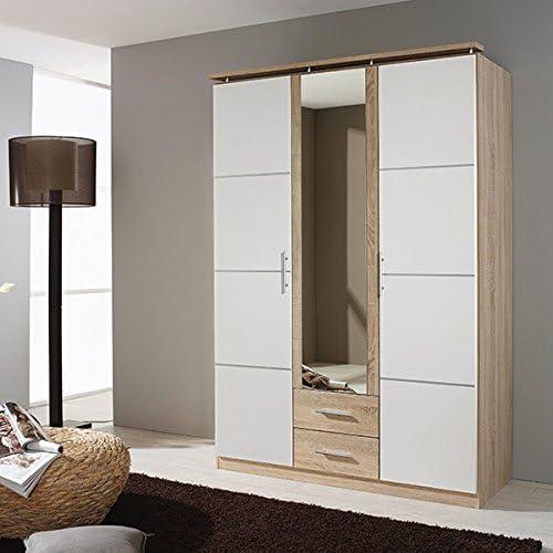 Kleiderschrank Weiß  grau 3 Türen B 136cm Schrank Drehtürenschrank W heschrank Kinderzimmer Jugendzimmer Schlafzimmer Schrank