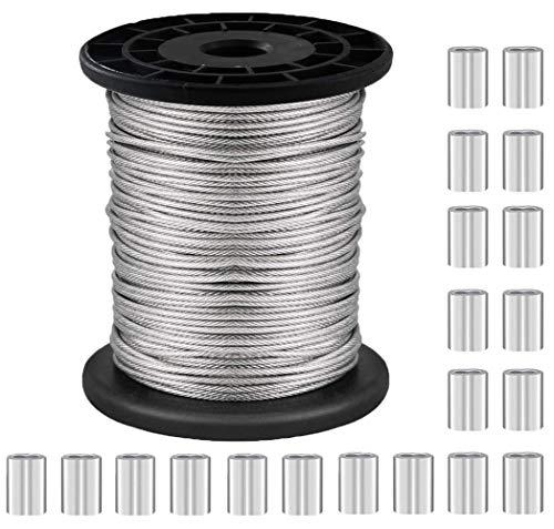 NACTECH Alambre para Colgar Cuadros de Acero Inoxidable 1.5mm Cable Acero Trenzado con 20pcs Manguito de Aluminio Alambre Revestida con Vinilo para Colgar Marco de Imagen Suspensión, 30m