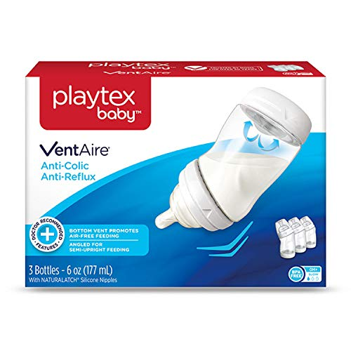 playtex breast pumps Playtex Baby VentAire Bottle, Helps Prevent Colic and Reflux, 6 Ounce Bottles, 3 Count
