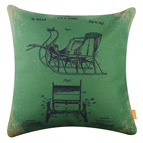 LINKWELL Vintage Green Sleigh Christmas Pillow Cover 18x18 inch Decorative Cushion Case for Sofa Bedroom Car Couch CC1733