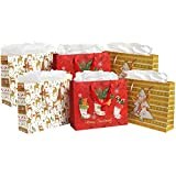 MyGift Colorful Festive Holidays Bags and Tissues (Assortment of 6 - Gold, White, Red)