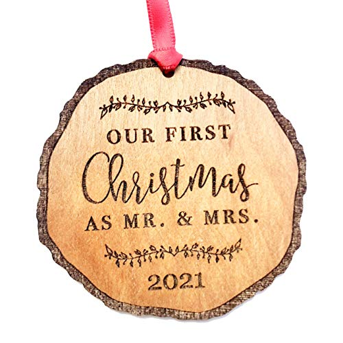 First Christmas as Mr & Mrs Ornament 2021, Rustic 1st Married Christmas Ornament, First Married, Laser Engraved Wooden Ornament, with Red Ribbon and Gift Box
