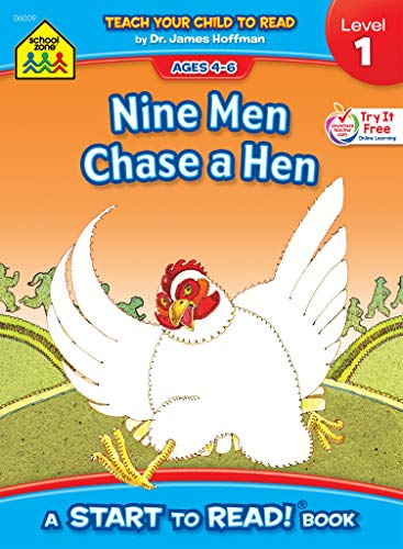 School Zone - Nine Men Chase a Hen, Start to Read!® Book Level 1 - Ages 4 to 6, Rhyming, Early Reading, Vocabulary, Simple Sentence Structure, and More (School Zone Start to Read!® Book Series)