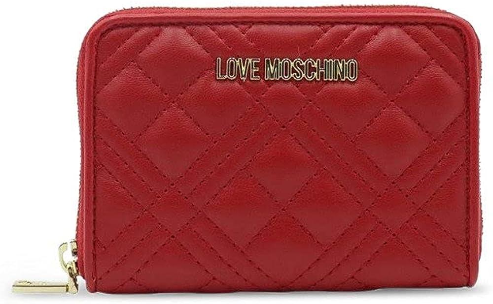 Love moschino portafogli per donna porta carte di credito in ecopelle rossa