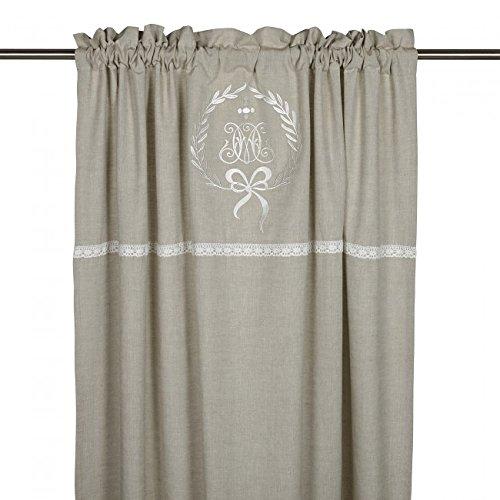 Gardinenschal Vorhang 'Emmy' 2er Set 120 x 240 cm (BxH) bestickt mit Spitze und Monogramm beige Baumwolle Landhaus Shabby French Vintage Retro Antik Nostalgie