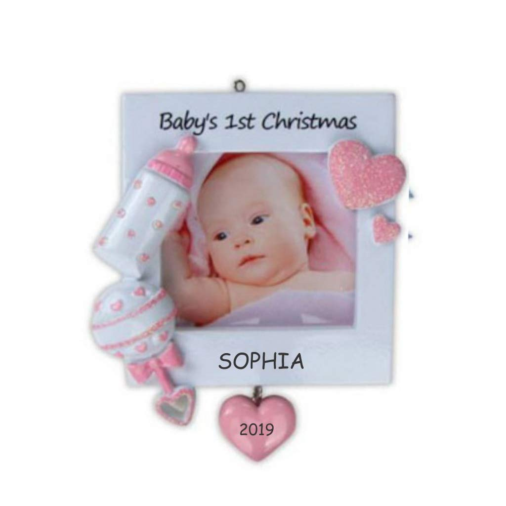 Personalized Photo Frame Baby Christmas Ornament Pink Baby Amazon Com