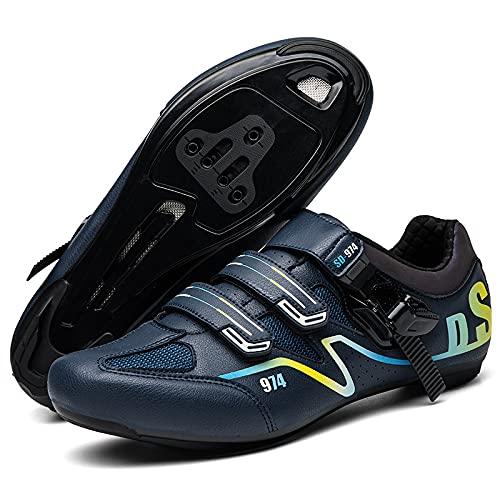 AGYE Zapatillas de Ciclismo de Carretera para Hombre con Zapatilla Peloton de Cala Compatible con Zapatillas de Bicicleta con Pedal SPD y Delta Lock,Blue-EU40