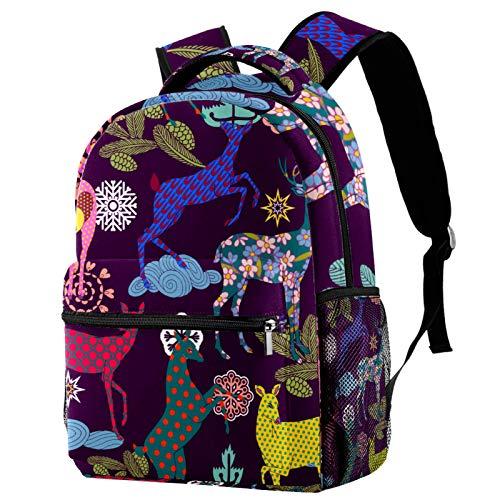 Backpack Colored Patterned Deers School Bag Rucksack Travel Casual Daypack for Women Teen Girls Boys