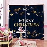 MMHJS Nordic 3D Christmas Series Cortina Impresa Poliéster Impermeable Cortina De Aislamiento Térmico Jardín Balcón Dormitorio Sala De Estar Blackout Cortina Vertical (2 Piezas)