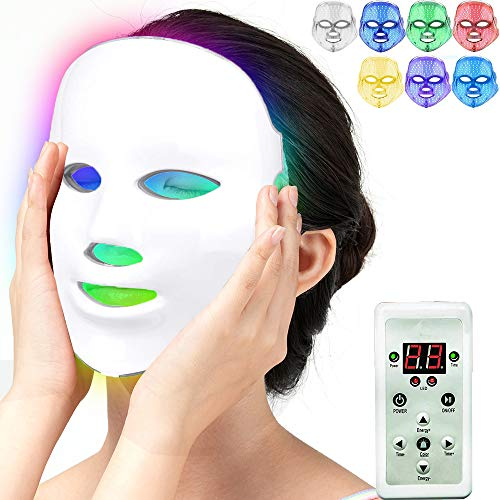 Beauty Light Therapy Mask, Acne Treatment 7 Color LED Photon Light Therapy...