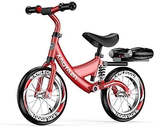 HLD 12 Pulgadas Adecuado for 2-6 años de Edad Balance Bicicleta amortiguación Aleación de Aluminio Sin Pedal Pedal Balance Deportes Portátil Portátil Bicicletas sin Pedales (Color : Red)
