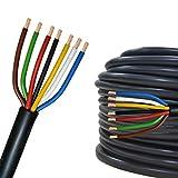 Câble multiconducteur pour l'automobile/remorque 5m, 10m, 20m ou 50m Choix: (10m mètre, 7 Fils: 7 x 1.5 mm² câble cylindrique)