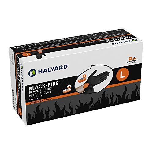 HALYARD Black-FIRE Nitrile Exam Gloves, Powder-Free, 5.5 mil, Large, 44758 (Box of 150)