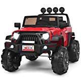 Costzon Ride on Truck, 12V Battery Powered Electric Vehicle w/ 2.4G Remote Control, 3 Speeds, LED Lights, Horn, MP3, Music, Double Magnetic Doors, Safety Belt, Ride on Car for Kids (Red)