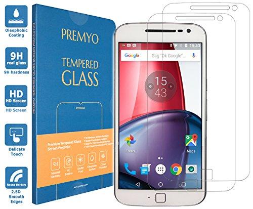 PREMYO 2 Stück Panzerglas Schutzglas Displayschutzfolie Folie kompatibel für Motorola Moto G4 Plus Blasenfrei HD-Klar 9H Gegen Kratzer Fingerabdrücke