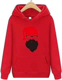 Women's Hoodie Santa Claus Print Loose Long Sleeve Sweatshirt Pullover with Pocket