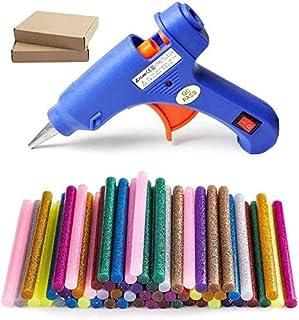 New Upgraded Mini Hot Melt Glue Gun with 50 pcs Color Glue Sticks, Removable Anti-hot Cover Glue Gun for DIY Small Craft P...