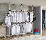 Cocoarm Garde-Robe Téléscopique Systèmes de Penderie Porte-Vêtements avec Barres Transversales Hauteur et Largeur Aajustable pour Chambre (3 Barres)