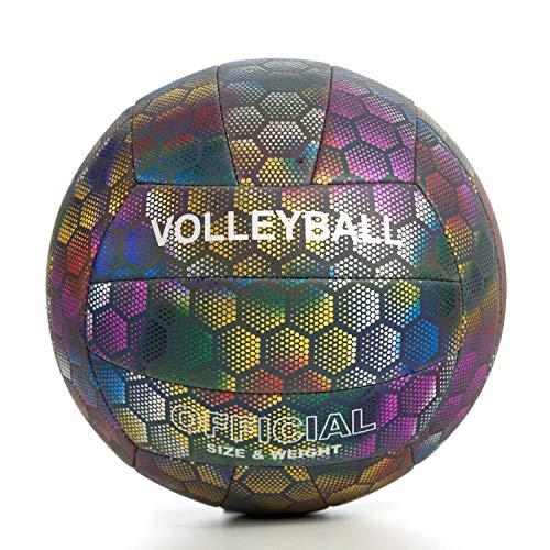 YANYODO Soft Volleyball Beachvolleyball Holographic Glowing Reflektierender Volleyball, Camera Flash Glows Volleyball Größe 5