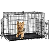 Folding Dog Crate 36' Metal Portable Outdoor Double Door Wire Large Cat Pet Dog Cage Kennel with ABS Tray LC & Divider