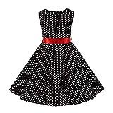 FYMNSI Vestido para niña de los años 50, vintage, rockabilly, de lunares, para noche, cumpleaños, fiesta, estilo años 50 negro + rojo 9-10 Años