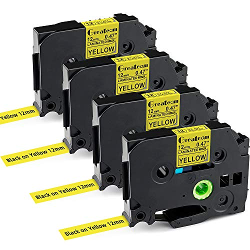 """Greateam Yellow Label Tape Compatible for Brother TZe Yellow Tape 12mm 0.47"""" TZe-631 TZ-631 Use for Brother P-Touch Label Maker PT-D210 PT-1290 PT-1280 PT-D600 PT-D400 PT-H110 PT-1890, 4-Pack"""