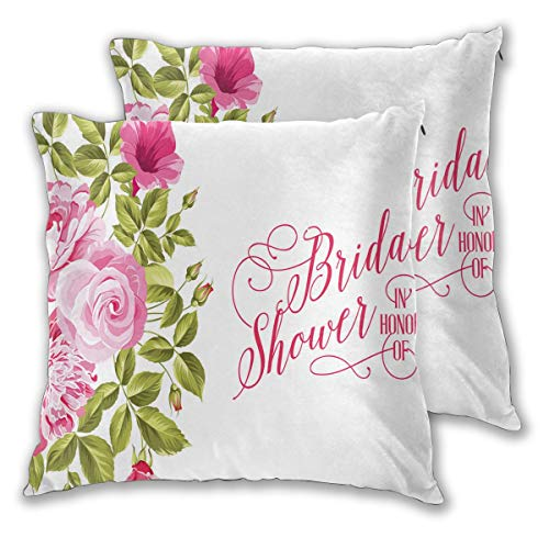LISNIANY Cushion Cover,Pink Bride Shabby Flowers Print,Pillow Case Cover Square Cushion Cover for Sofa Car Home Bed Decor 45 x 45cm