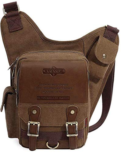 S-ZONE Unisex Herren Brusttasche Vintage Canvas PU Leder Militär Multifunktionale Schultertasche für Reise Wandern Schule
