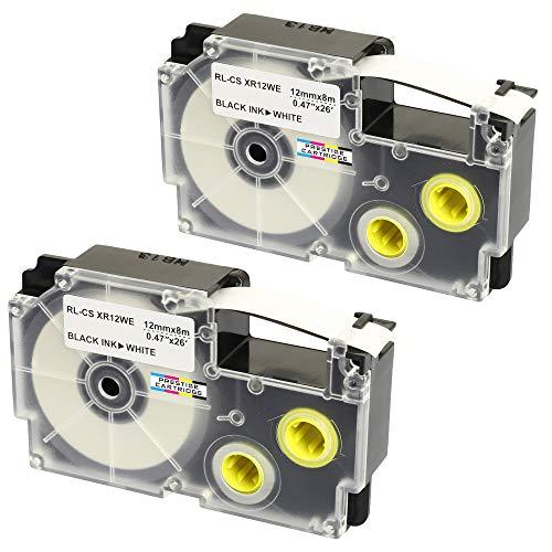 2 Kassetten XR-12WE XR-12WE1 schwarz auf weiß 12mm x 8m Schriftband kompatibel für CasioKL-60 KL-100 KL-120 KL-200 KL-300 KL-750 KL-780 KL-820 KL-2000 KL-7000 KL-7200 KL-8100 Beschriftungsgerät