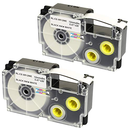2 x Compatible Ribbon XR-12WE XR-12WE1 Black on White Label Tapes (12mm x 8m) for Casio Label Printing Machines