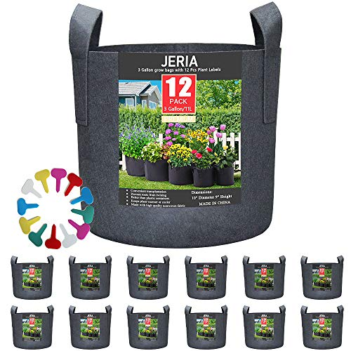 JERIA 12-Pack 3 Gallon, Vegetable/Flower/Plant Grow Bags,...
