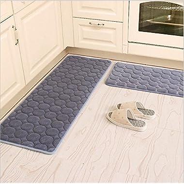 Kitchen Rugs,CAMAL 2 Pieces Non-Slip Memory Foam Kitchen Mat Rubber Backing Doormat Runner Rug Set (16 x24 +16 x48 , Gray)