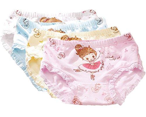 FAIRYRAIN FAIRYRAIN 4 Packung Baby Kleinkind Mädchen Ballett Prinzessin Pantys Hipster Shorts Spitze Baumwollunterhosen Unterwäsche 2-4 Jahre