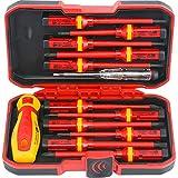 13 Piece Insulated Screwdriver Set R'deer Industrial Level 1000v Cr-V Magnetic Slotted Phillips Pozidriv Torx Electrician Tool Kit
