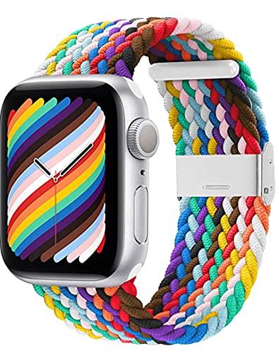 Pulseira para Apple Watch 38 mm, 40 mm, 42 mm, 44 mm, SE trançadas Correia elástica ajustável série 6/SE/5/4/3/2/1 com fivelas (Pride 42/44mm)
