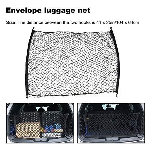HuaZoon 41 x 25in(104 x 64cm) Elastic Nylon Mesh Rear Car Organizer Net for SUV,Truck Bed or Trunk