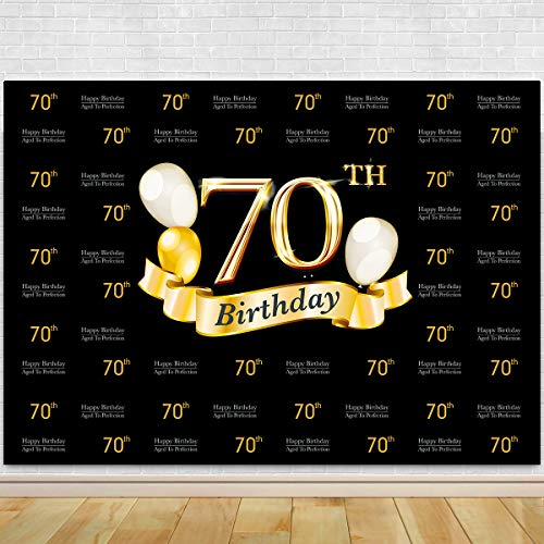 Glitter Gold and Black Photo Studio Booth Background Adult Happy 70th Birthday Party Decorations Banner Backdrops for Photography