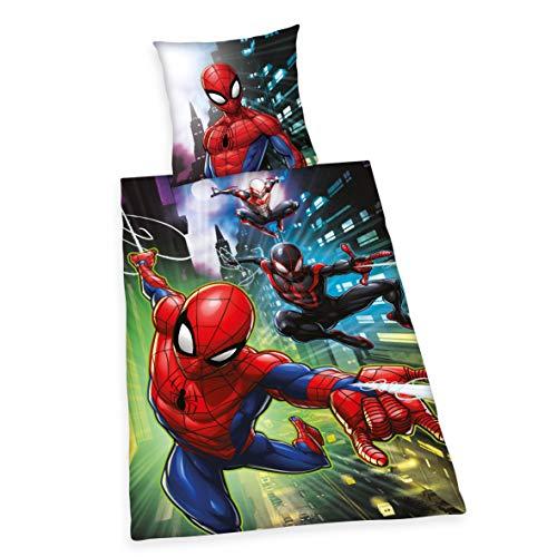 Ropa de Cama Spiderman, Funda de Almohada de 80 x 80 cm, Funda nórdica de 135 x 200 cm, con Cremallera de Marca.