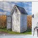 ABAKUHAUS Toilettenhäuschen Duschvorhang, Landhaus Weizen, mit 12 Ringe Set Wasserdicht Stielvoll Modern Farbfest & Schimmel Resistent, 175x200 cm, Ringelblume Weiß Grün & Blau