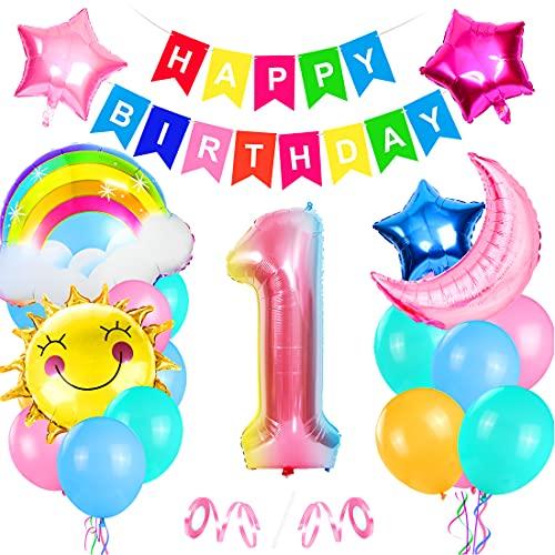 Bluelves Palloncini Compleanno 1 Anno,1 Palloncini Rosa, Foil Palloncini Numeri 1, Decorazioni Compleanno 1 Anno, Compleanno 1 Anno Bambina, Palloncino Numero 1, Palloncini Compleanno