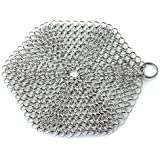 GAINWELL Stainless Steel Chainmail Scrubber Steel Cast Iron Cleaner