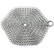 GAINWELL Stainless Steel Chainmail Scrubber – 7x7 inch Steel Cast Iron Cleaner