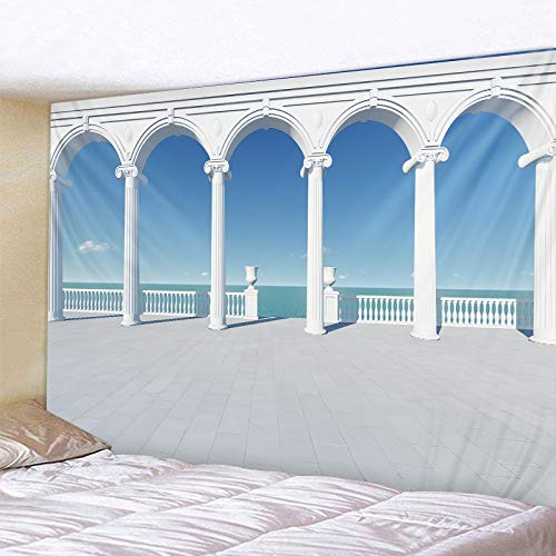 KHKJ Tapiz de Ventana del mar Fondo Personalizado Pared Paisaje impresión Tapiz Tapiz Hippie Arte decoración del hogar A1 150x130cm