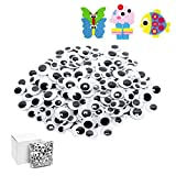 300pcs Googly Wiggle Eyes Self Adhesive, for Craft Sticker Multi Sizes 12mm 15mm 18mm 20mm 22mm 25mm for DIY by ZZYI
