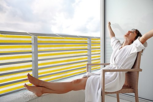 Floracord Balkonumrandung HDPE 0,90 x 5 m, gelb/weiß/mehrfarbig