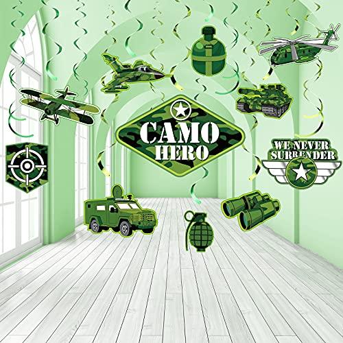 30 Piezas Decoraciones Remolinos Colgante de Fiesta de Camuflaje, Serpentinas en Espiral de Techo de Papel Aluminio de Fiesta Cumpleaños de Camo Hero Ejército Militar Verde