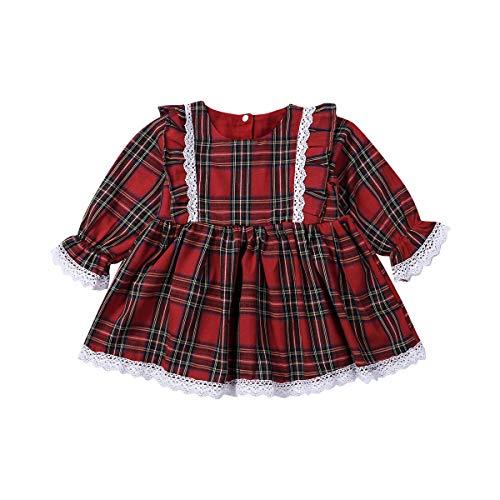Kinder Baby Mädchen Weihnachtskleid Rüschenärmel Rot Plaid Tutu Rock Weihnachten Party Outfits Schwester Passende Kleidung Set (4-5 Years,Lace Long Sleeves)