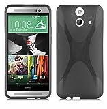 Cadorabo DE-102391 HTC ONE E8 Mobile Phone Case Flexible TPU Silicone X-Line Design Black